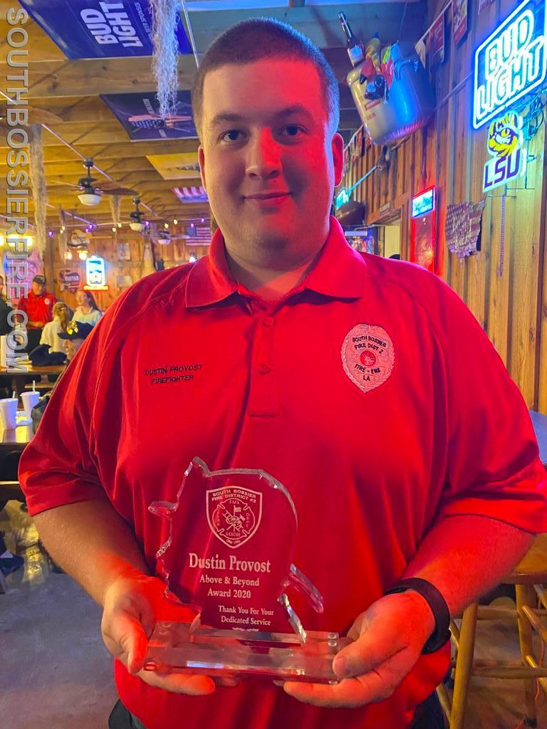 Firefighter Dustin Provost after receiving the Above and Beyond Award